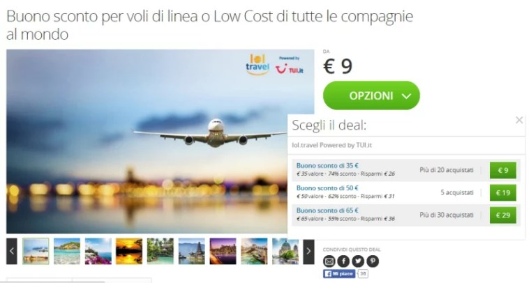 Buoni sconto per voli di linea e low cost su Groupon lol.travel