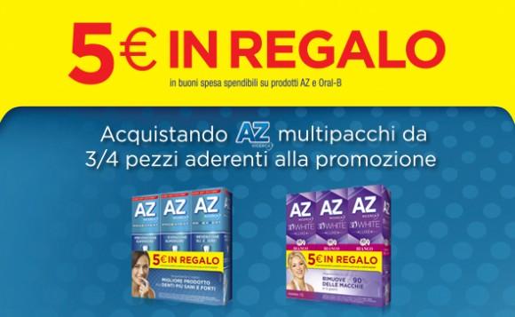 Buoni spesa da 5€ da spendere sui prodotti AZ e Oral-B