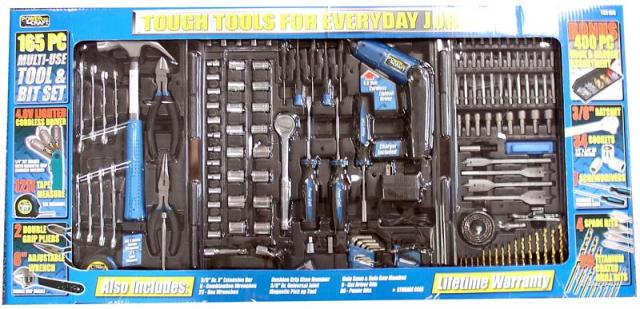 TOOL KIT 165PC W/4.8V CORDLESS SCREWDRIVER, BLOW CASE 475, UPC