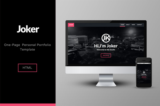 Joker a Creative Single Page Portfolio HTML Template - Free!
