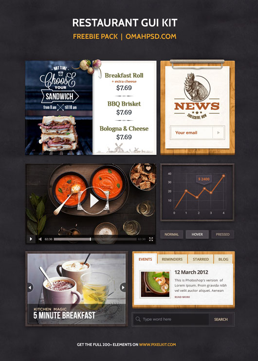 Free PSD Restaurant GUI Kit