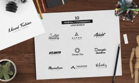 Free 10 Minimal Typography Logos Bundle by XpertgraphicD