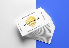 Free Realistic Business Cards MockUp 6 by Graphicburger