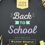 Back to School Flat and Line Icon Set (50 Icons, SVG & PNG)