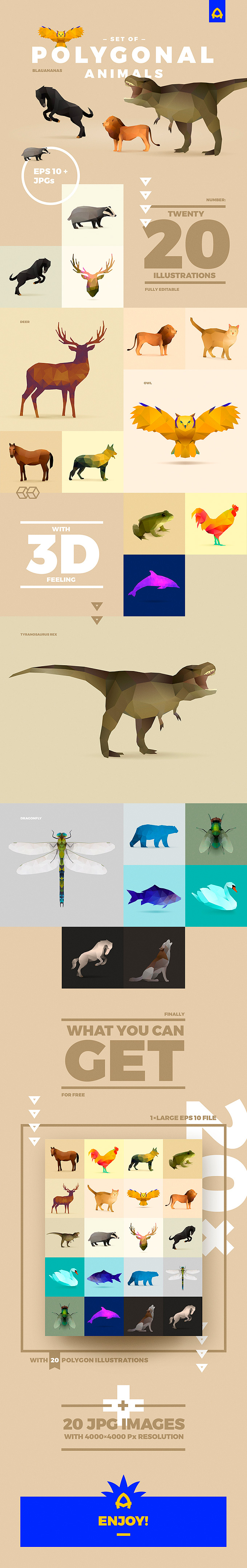 Free Polygonal Animals Set