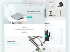 Free PSD Piroll Minimal Portfolio Website Template