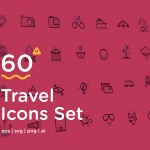 Free Travel Icon Set (60 Icons, AI, SVG, EPS, PNG)