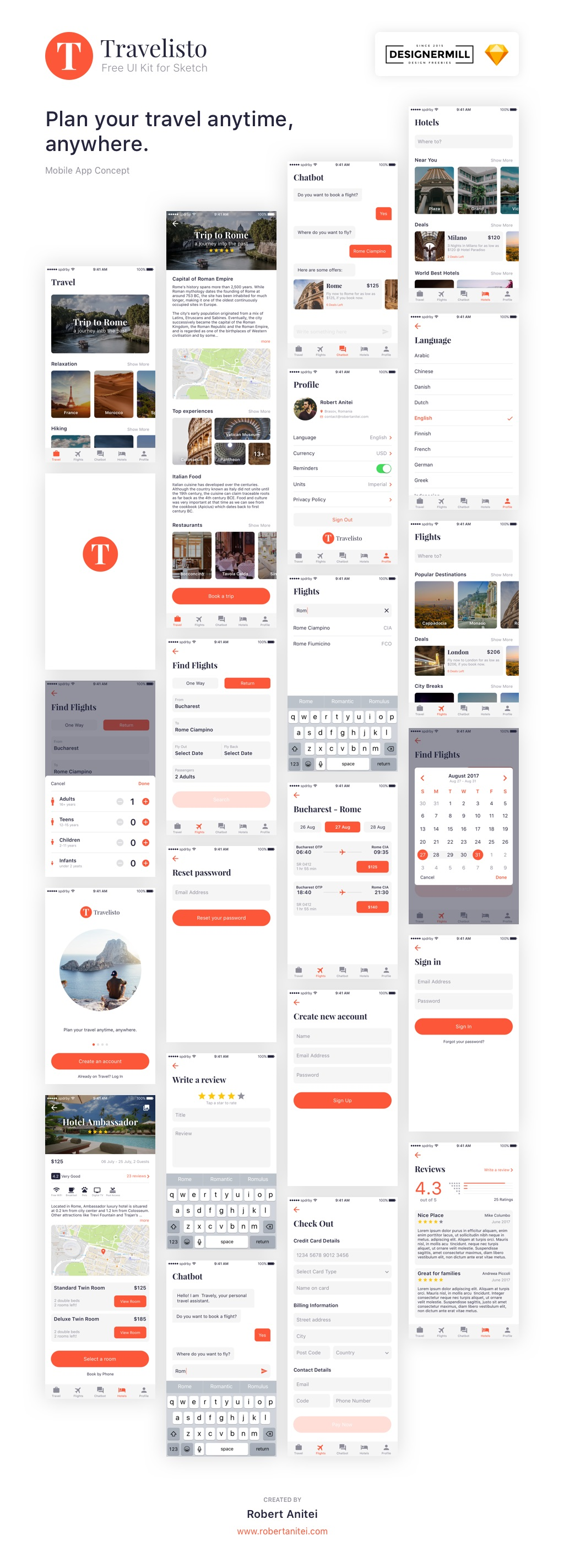 Free Travelisto UI Kit for Sketch