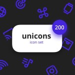 Unicons Icon Set (200 Icons, EPS, PNG, SVG, AI, SKETCH, PSD)