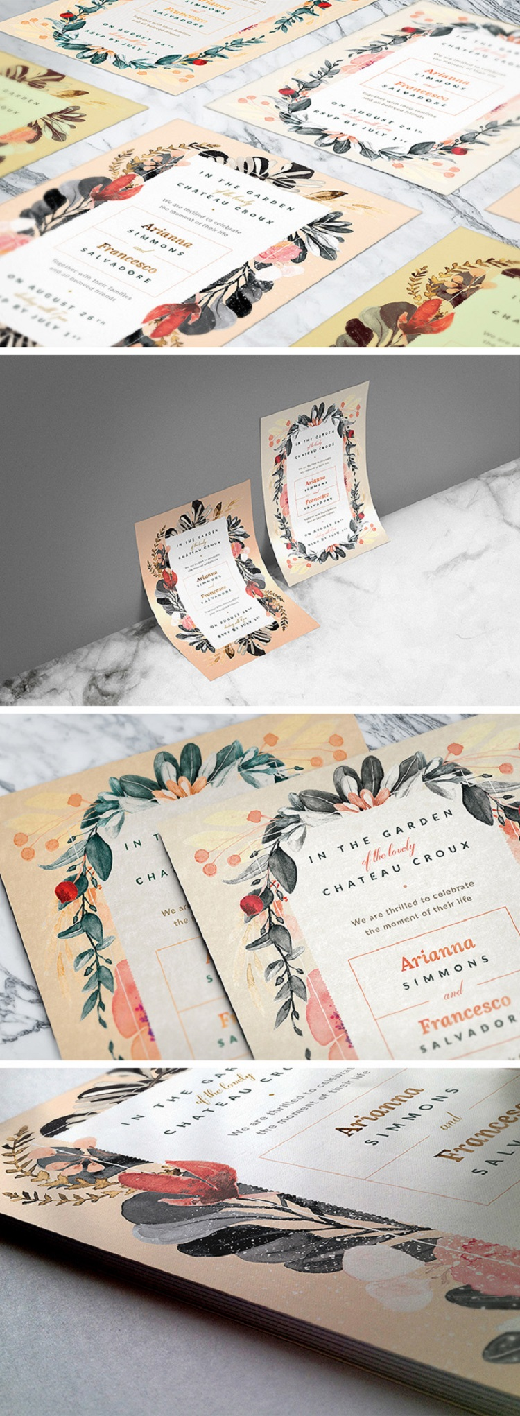 Free Blush Noir Wedding Invitations