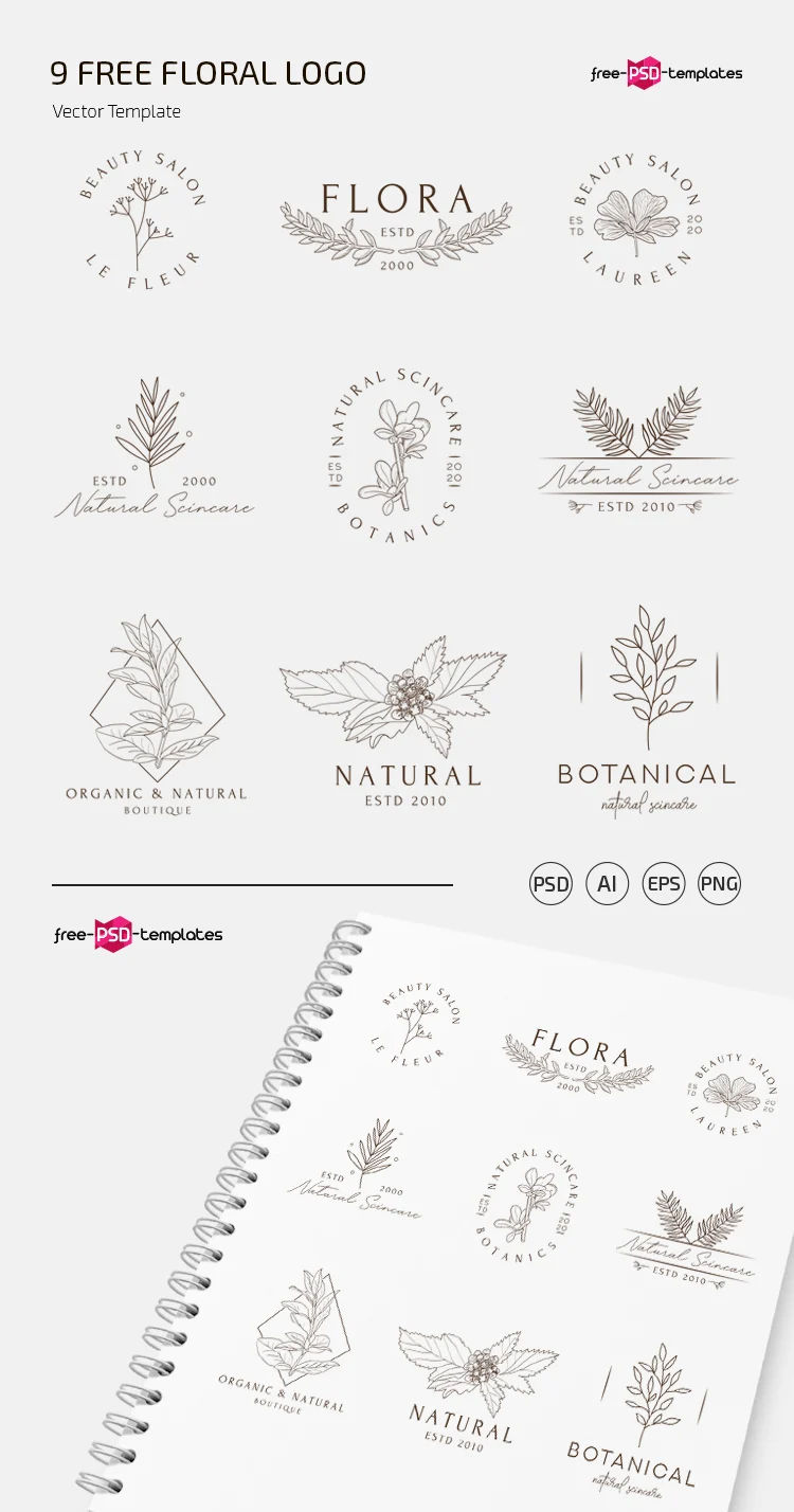 Free Floral Logo PSD