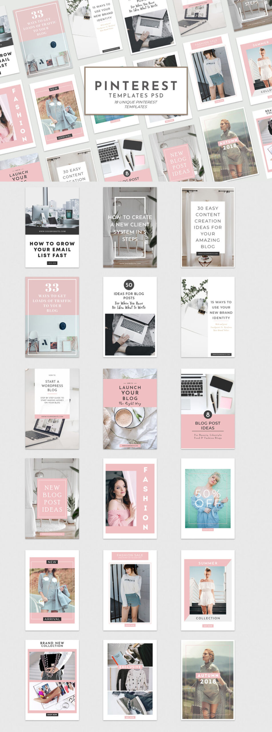Free Unique Pinterest Pin Templates for Bloggers