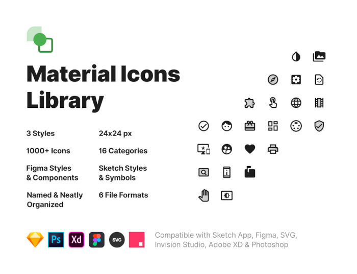 Material Icons Library Freebie Preview