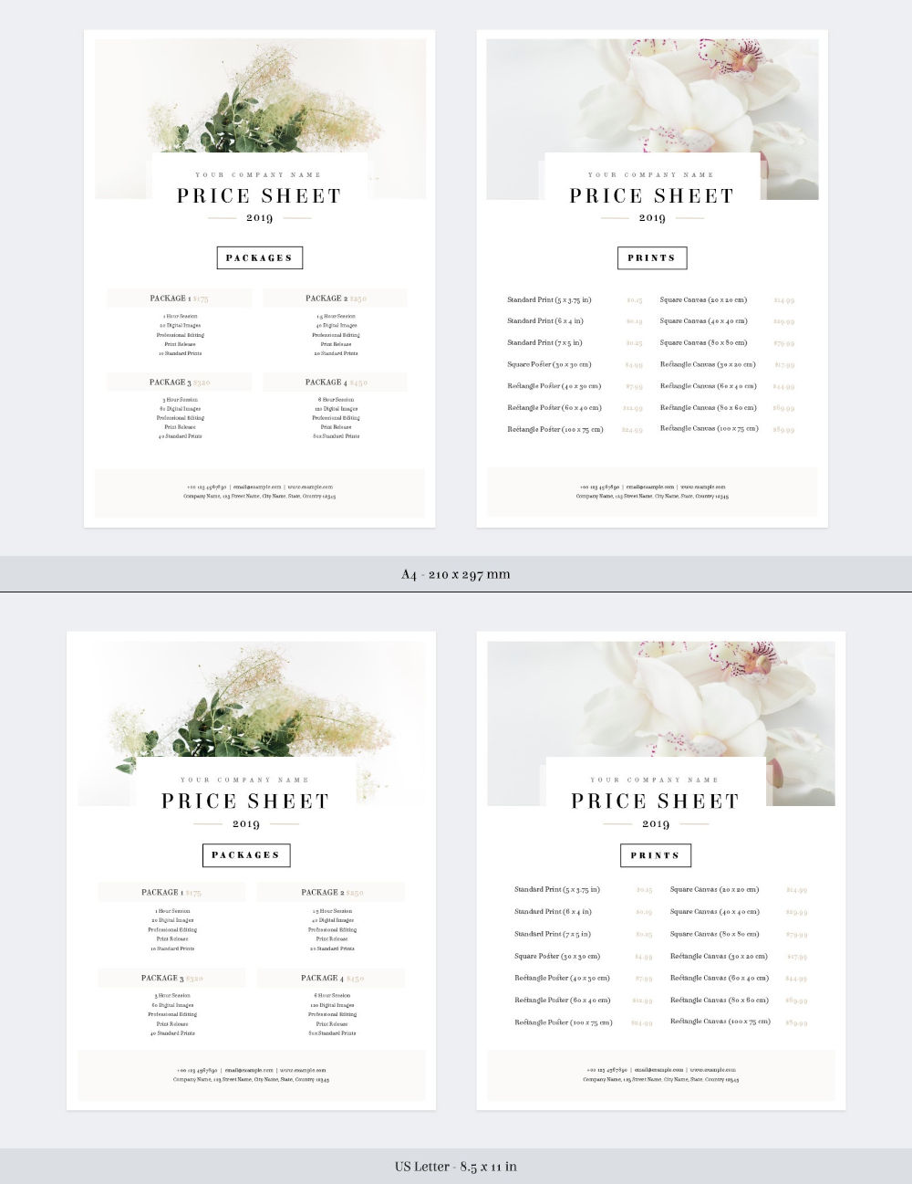 Free Price Sheet Template Full Preview