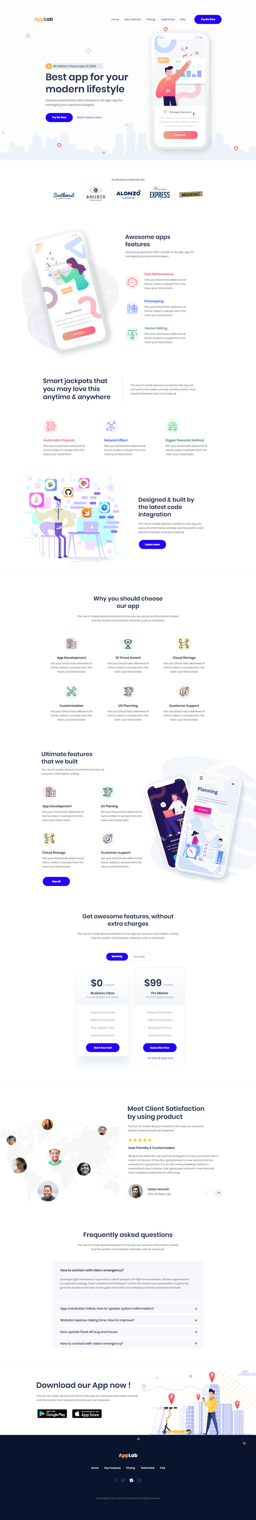 Free App Lab Landing Page Template Preview
