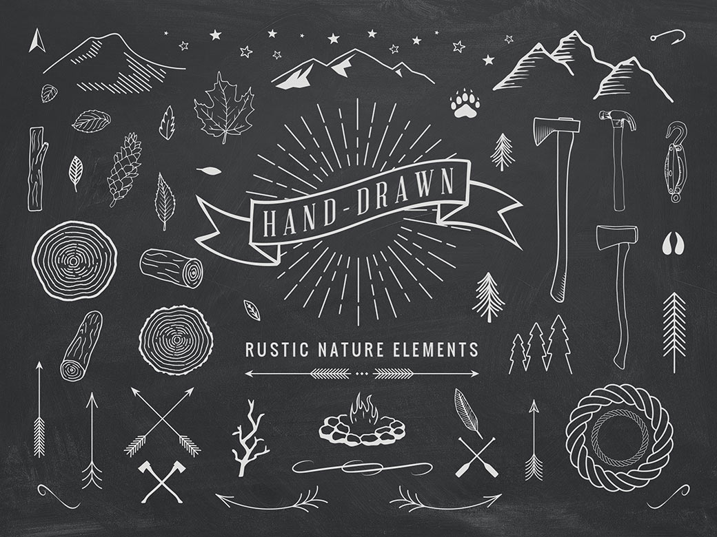 Hand-Drawn Rustic Elements (AI, EPS, PSD)