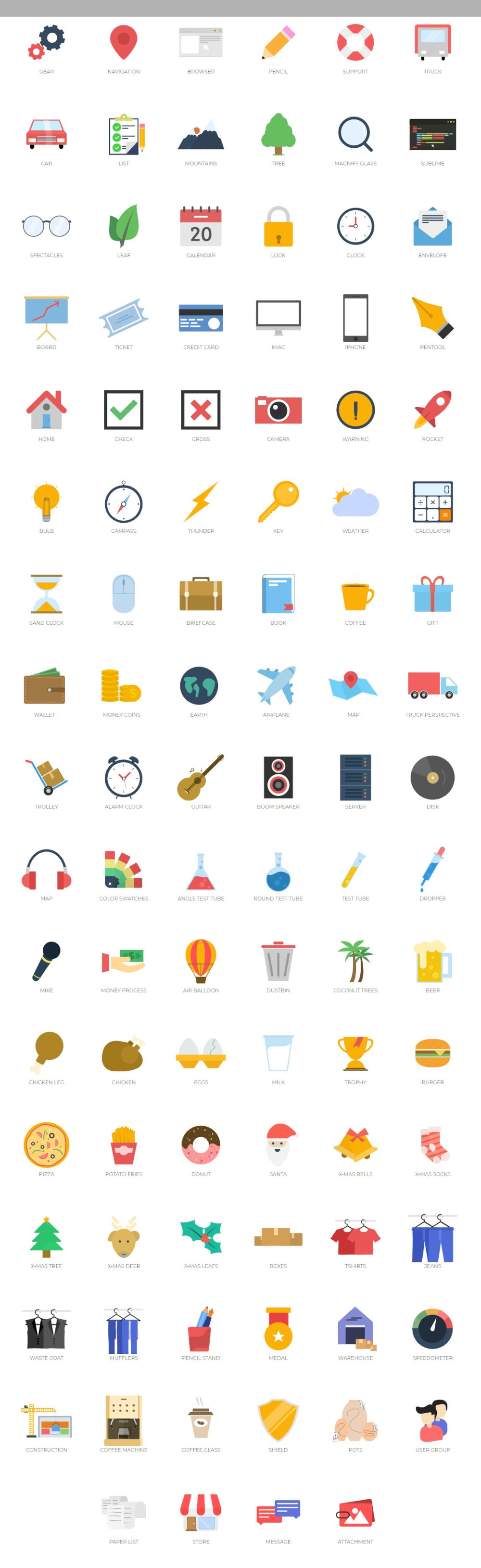 Mojo Icons - 100 Free Flat Icons Full Preview
