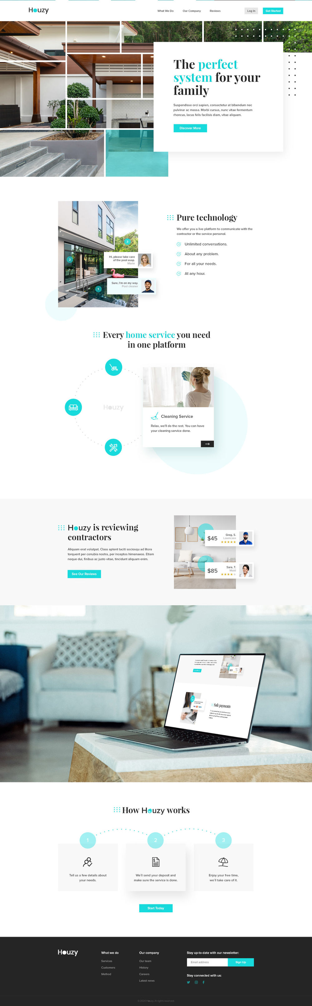 Free Houzy Website PSD Template Preview