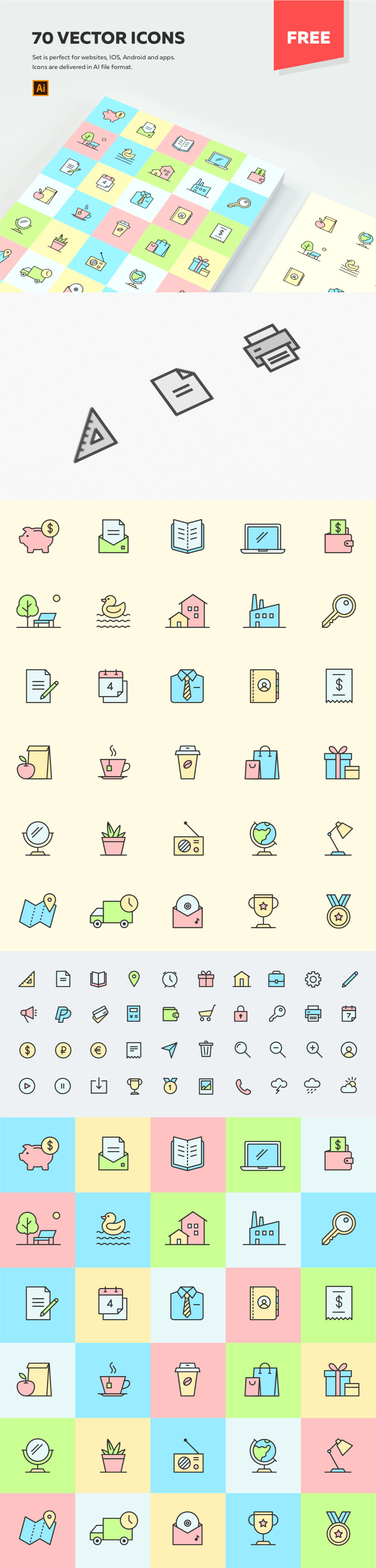 Free 70 Multipurpose Vector Icons Preview
