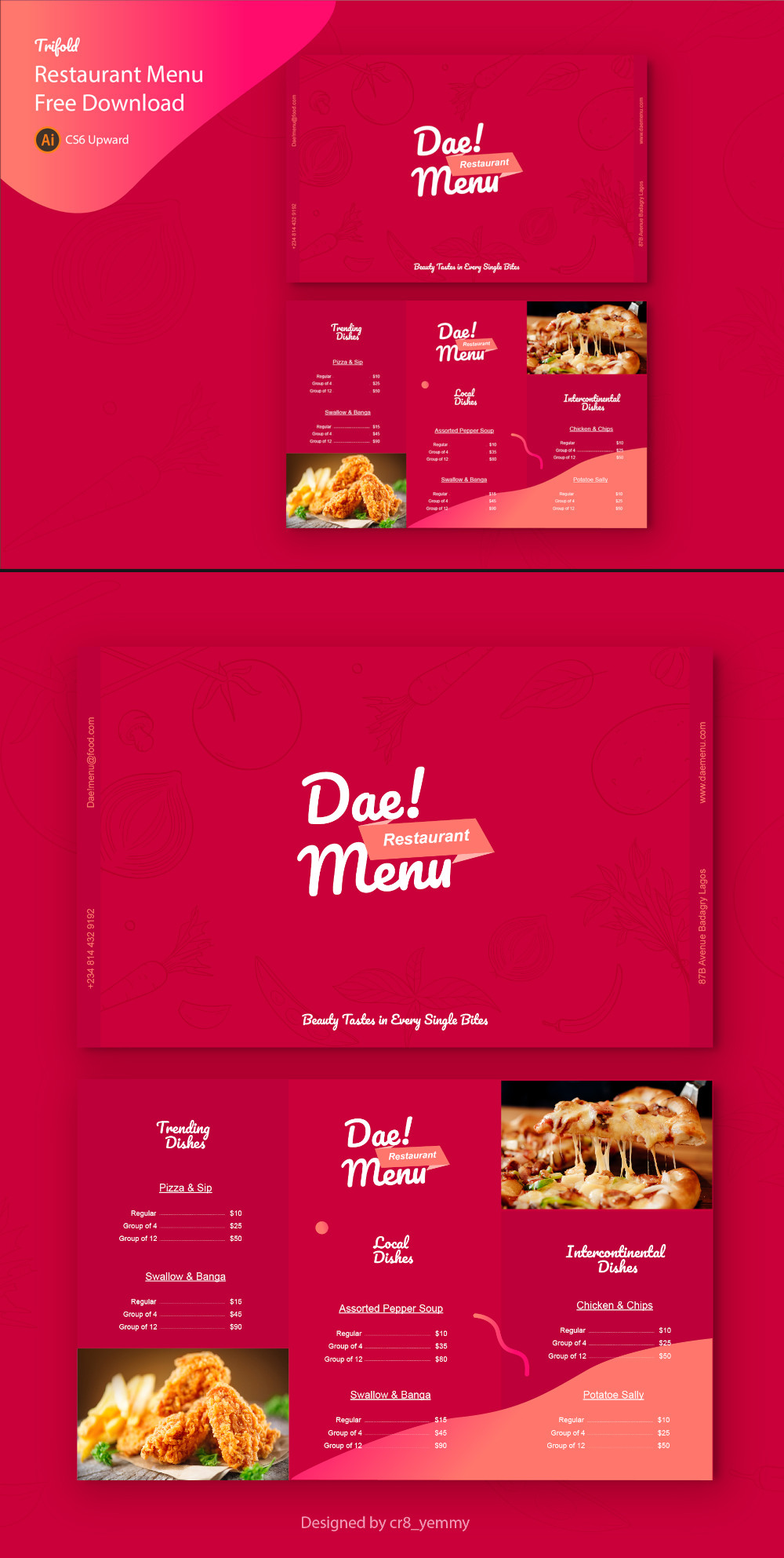 Free Trifold Restaurant Menu Template Preview