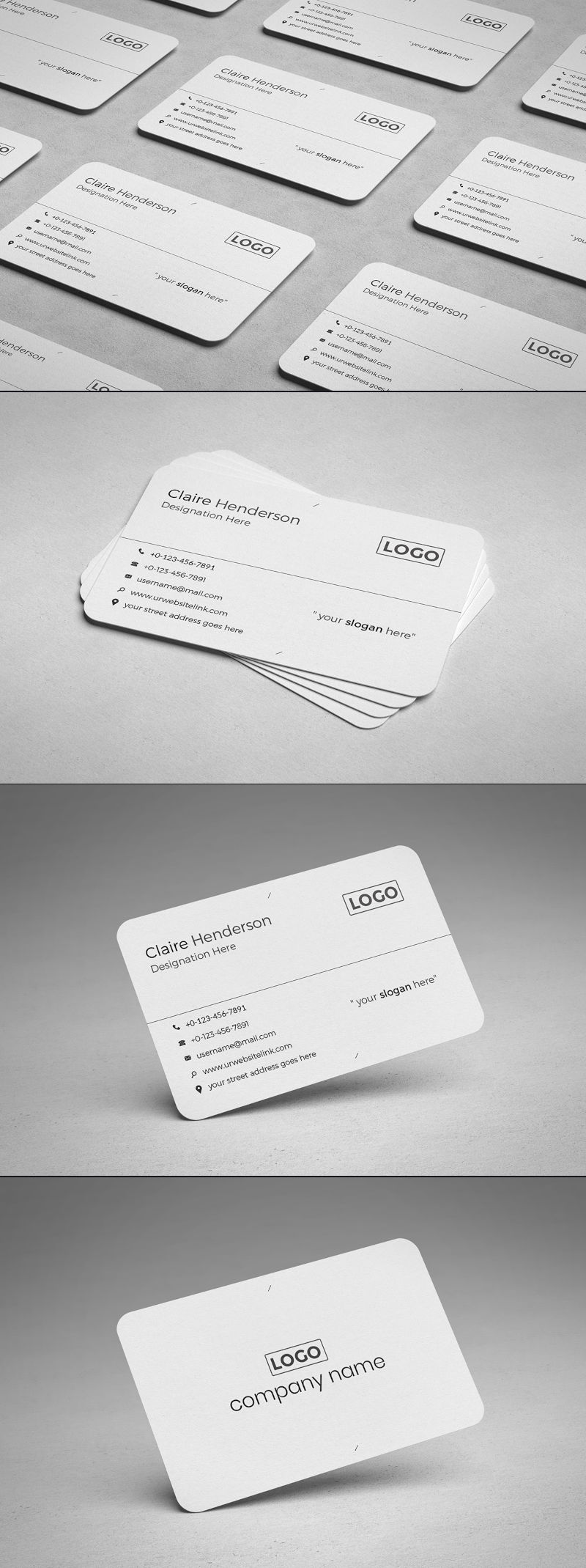 Free Rounded Business Card PSD Template - Preview