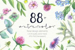 Watercolor Floral Elements Freebie