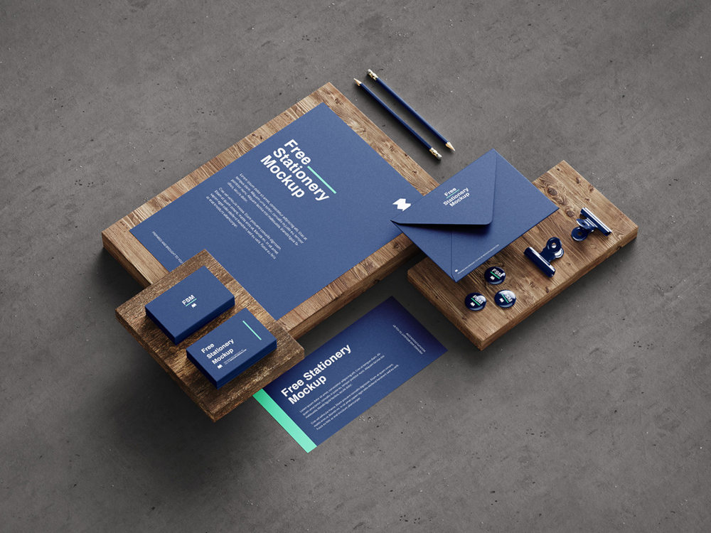 Free Stationery Mockup Preview Angle 2