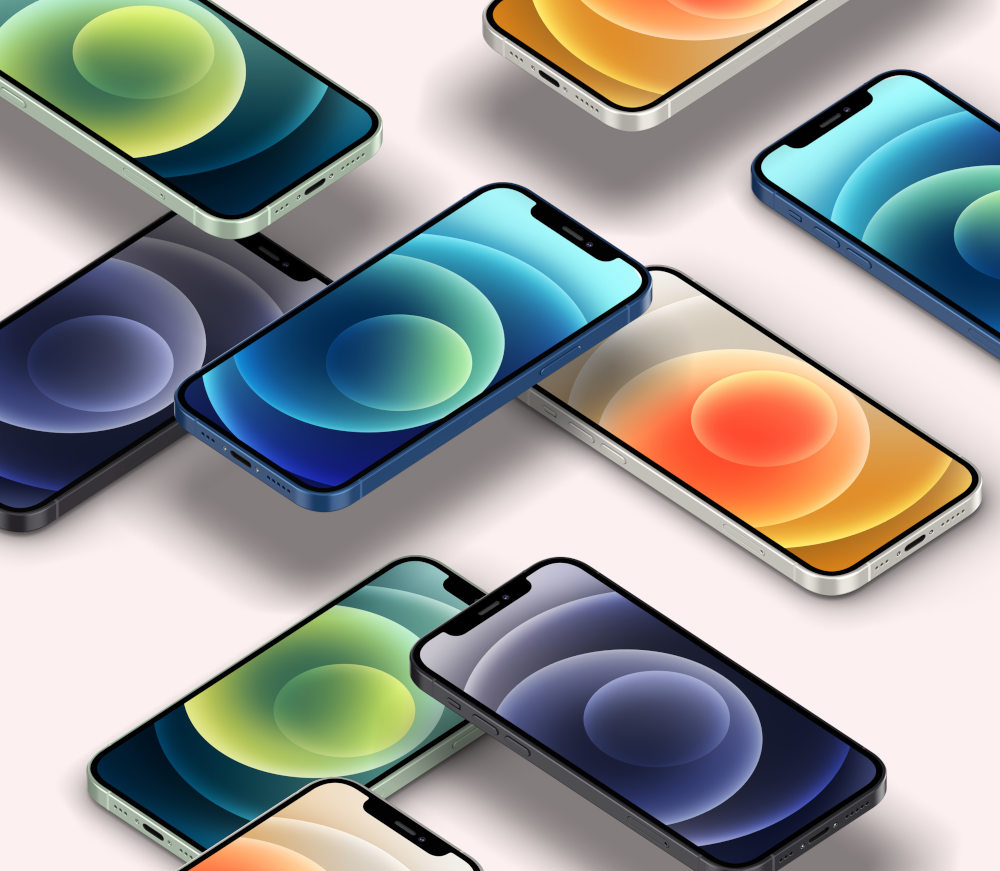 Free Floating Isometric Perspective iPhone 12 PSD Mockup preview