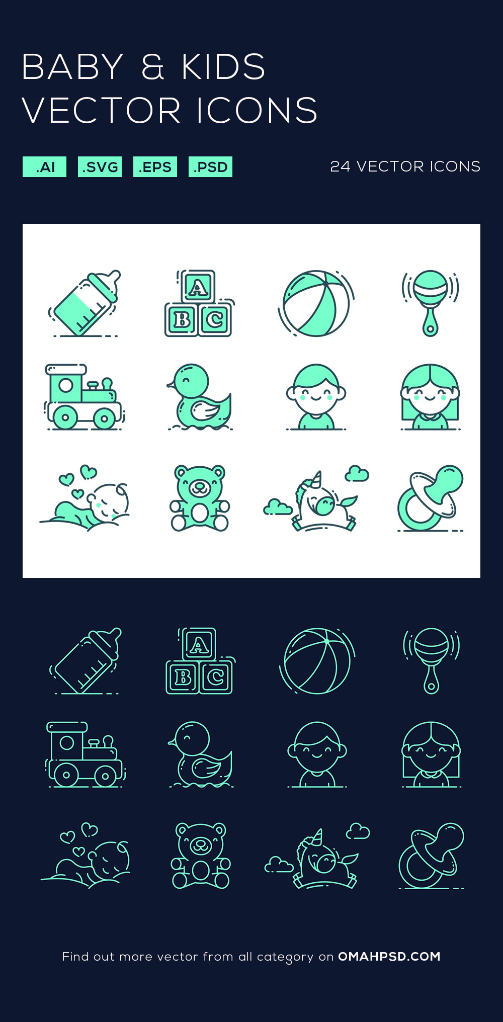 Free Baby and Kids Vector Icons Preview