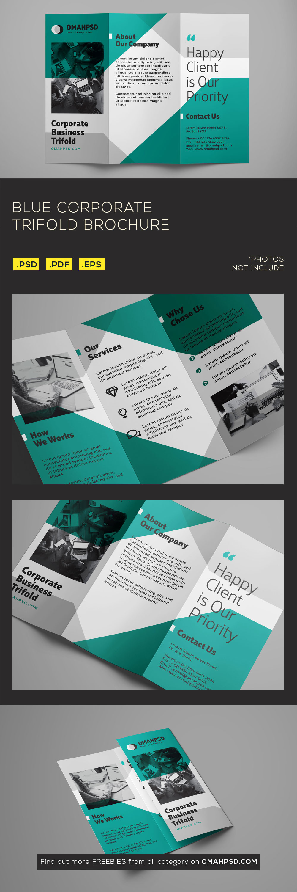 Free Blue Corporate Trifold Brochure Template - Preview