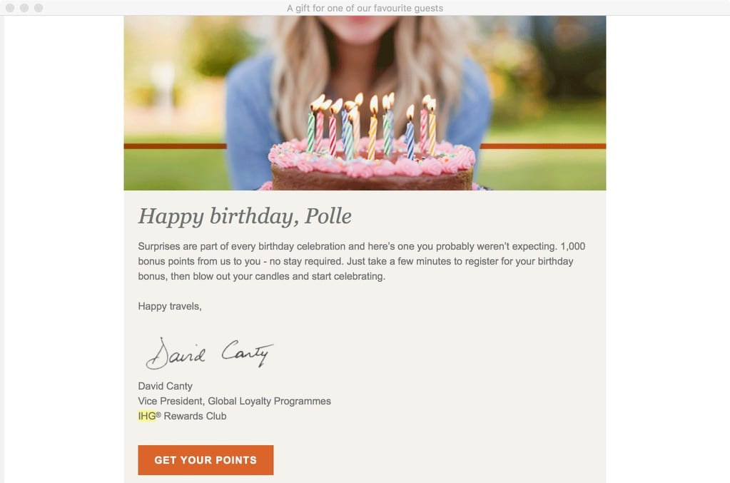 IHG Birthday Email
