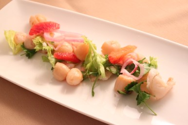 Peruvian Shrimp and Scallop Ceviche Seared Nantucket Bay Scallops, Jumbo Gulf Shrimp, Blood Orange, Pickled Shallot, Celery Leaf, Cilantro