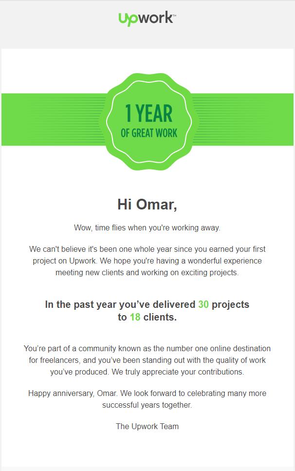 1 year Freelancing on UpWork