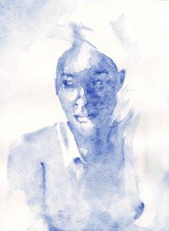Aquarelle femme bleue