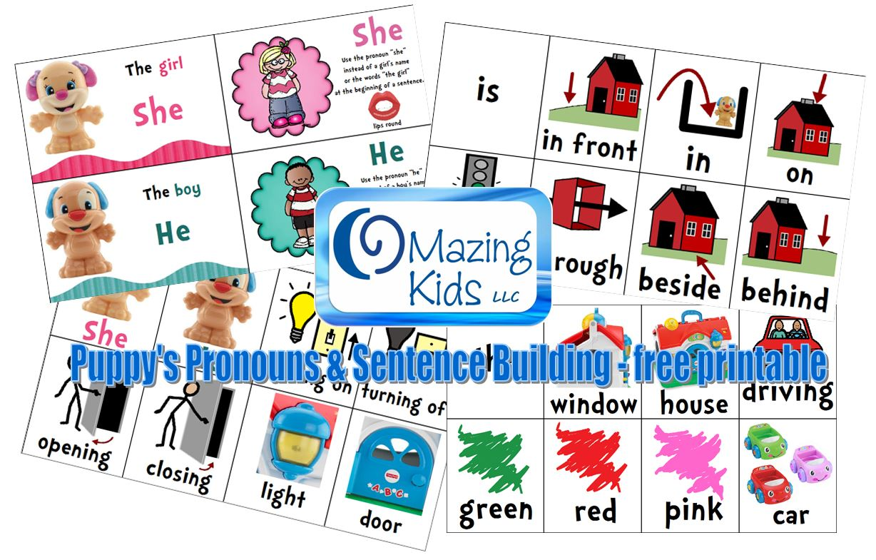Free Printable Puppy S Pronouns Amp Sentence Building Cards