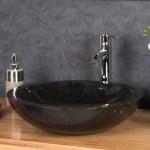Polished Stone Basin Black Sink 40 X 15cm Ombakfurniture Com