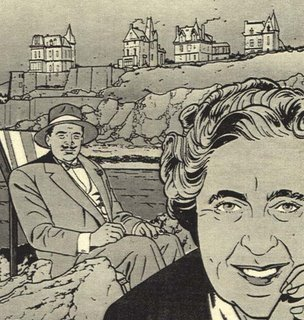 The Monogram Murders Black and White Drawing Hercule Poirot Agatha Christie Seaside Scene
