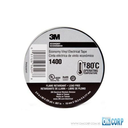 Cinta Teipe Negro 3M Electrico 3/4 pulg x 60 Pies 1400