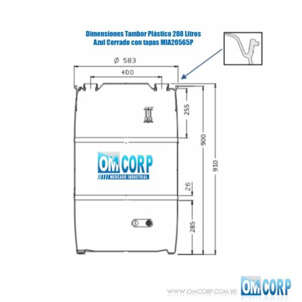 Tambor Plástico 208 Litros Azul Cerrado con tapas MIA20565P 2