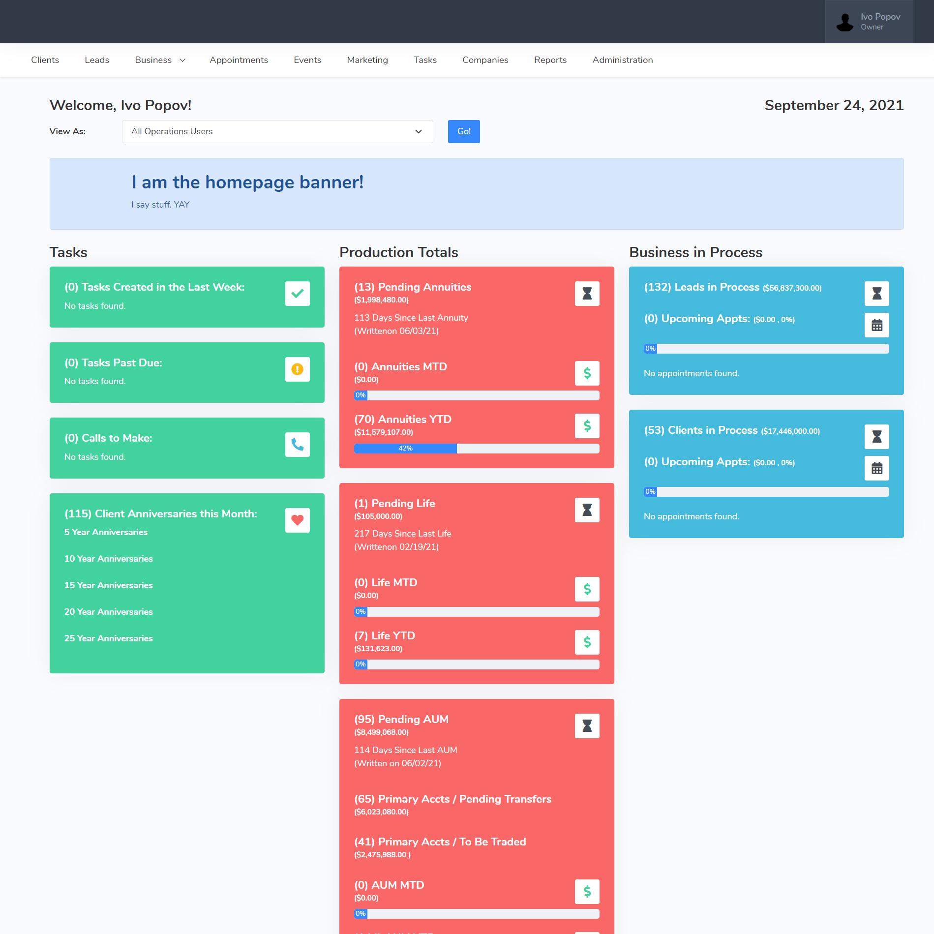 Business CRM screenshot