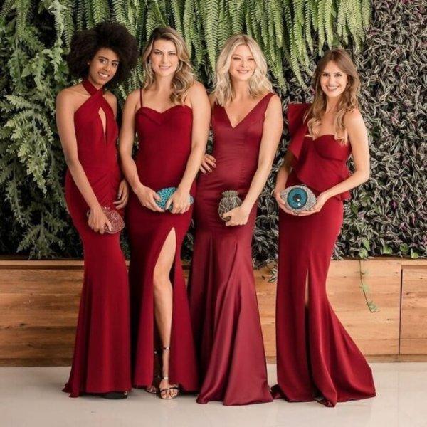 Modelos de vestidos vermelho longo.