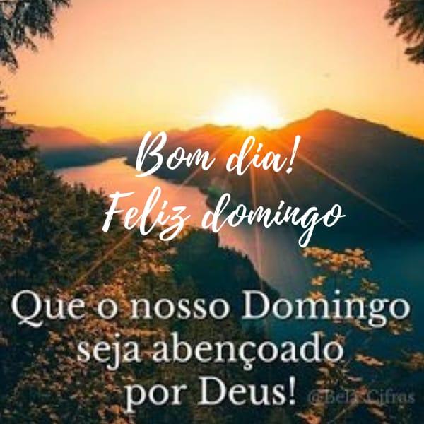 Frase de bom dia e um feliz domingo abençoado por Deus