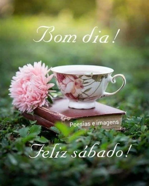 bom dia e feliz sábado com xicara de café
