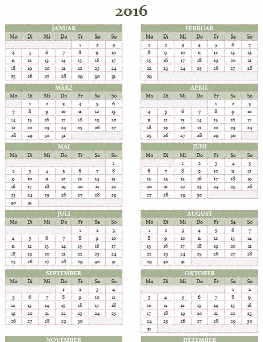 Jahreskalender 2016 2025 Mo So