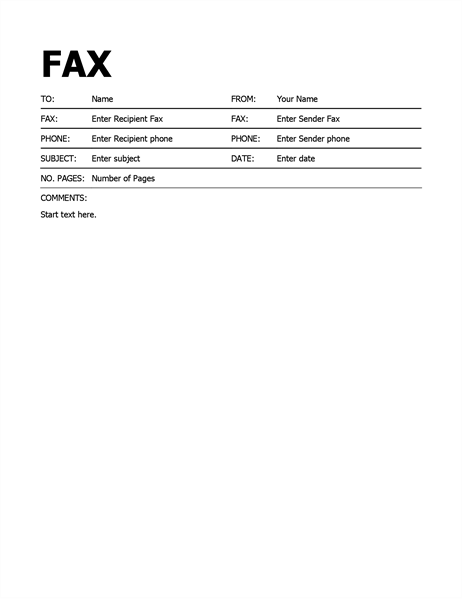 fax cover sheet word 2010