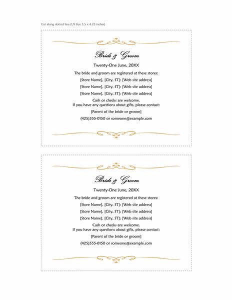 Wedding Registry Insert Card Heart Scroll Design A2 Size 2 Per Page
