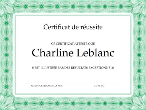 Certificat De Russite Vert Office Templates