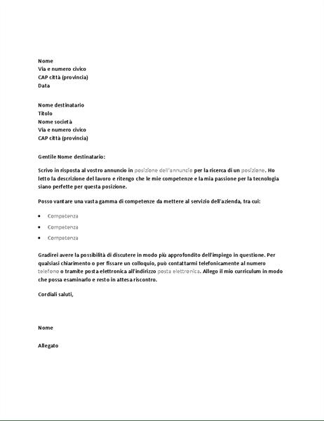 Esempio Di Lettera Di Presentazione In Risposta A Un