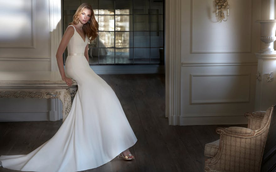 Classic Simple Wedding Dress by Caroline Castigliano