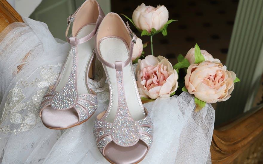 Pale Pink Crystal Encrusted Wedding Shoes with Open Toes by The Perfect Bridal Company
